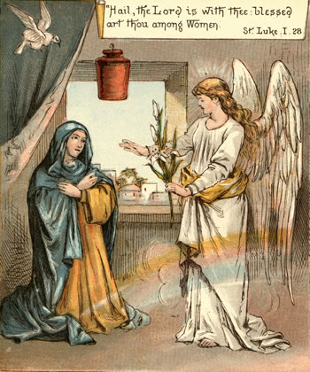 Angel greets Mary